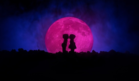 Silhouette of couple kissing under full moon. Guy kiss girl hand on full moon silhouette background. Valentine`s day decor concept. Silhouette of loving couple kissing against the moon
